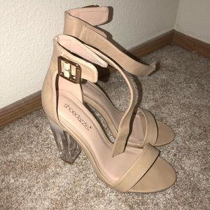 Tan leather/clear blocked heel sandal